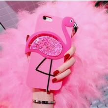 3D Glitter rainbow Cute Flamingo Cat Rubber Case For