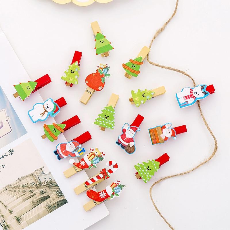 10pcs Christmas Mini Wooden Clip /1pcs Rope Creative Cute Santa Claus Paper Clip Photo Memo Peg Pin DIY Craft Decoration Clips