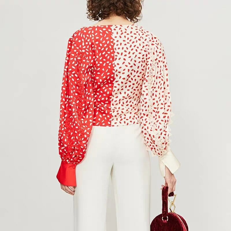 Fashion Oceanlove neck Print Panelled Women Spring Color 10901 Blouse Summer Asymmetrical Pullovers Photo 2019 Long Sleeve Tops Shirt V O0qYtrOw