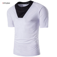 YFFUSHI Latest Design T Shirt Men Short Sleeve O Neck White Black Red Dark Grey T