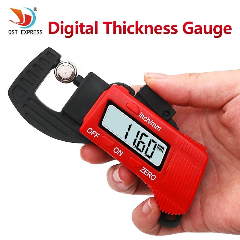 QSTEXPRESS New 0-12.7mm Carbon Fiber Composites Digital Thickness Caliper Micrometer Guage