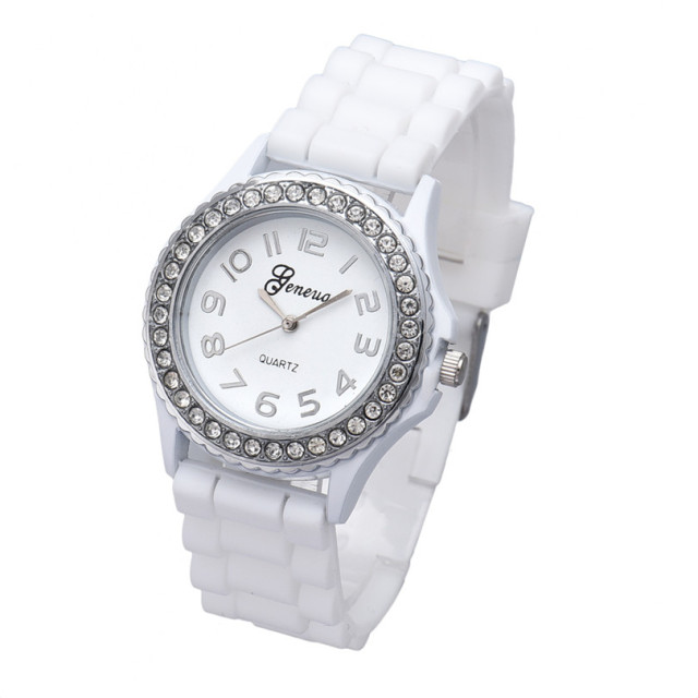 2018 Fashion Silicone Gel Ceramic Style Band Crystal Bezel Women's Watch sport B