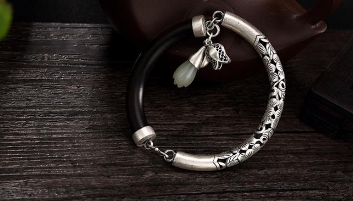 JOOCHEER Sterling S990 990 silver Bangle ebony hollow out natural stone trendy bracelet JOOCHEER Sterling S990 990 silver Bangle ebony hollow out natural stone trendy bracelet