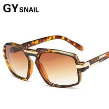 Gy caracol marca new 2017 new steampunk óculos de sol quadrados homens flat  top europeu americano retro óculos de sol do metal d. 05096b77a4