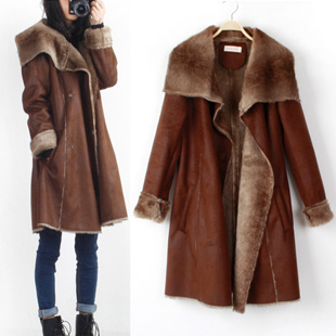 7e01e84cc1a6 Brown Winter Fashion Large Lapel Long Warm Sherpa Lining Artificial Fur Coat  Faux Faux Leather Wadded Padded Jacket M L D1844