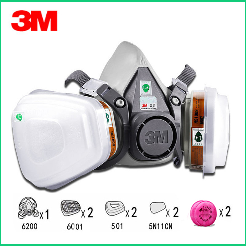9in1 <font><b>3M</b></font> 6200 Half Facepiece Gas Mask Respirator With <font><b>6001</b></font>/2091 Filter Fit Painting Spraying Dust Proof image