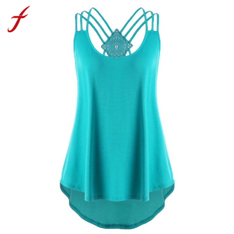 Ladies Bandages Sleeveless T shirt 2018 High Low Strappy Summer Style T shirt Multi Color Choice Women T shirt harajuk Plus Size