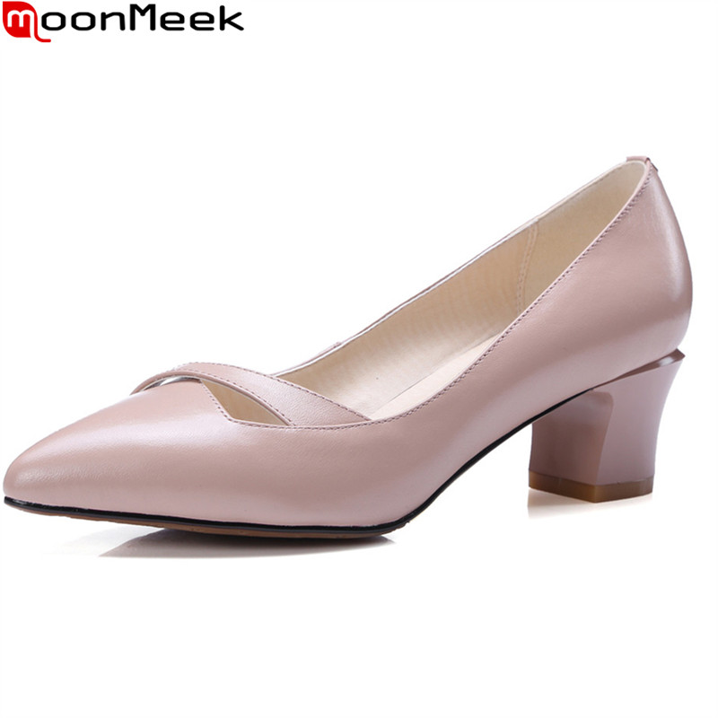 MoonMeek spring summer new prevail pointed toe pumps women shoes shallow slip on square pink black mature ladies dress shoes