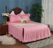Quilted Cotton Soft Bed set Solid Pink Cream Double Layer Lace Spilt Bedskirt Girls Ruffle Lace Bedding Set Queen King size(China)
