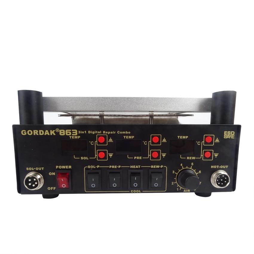 Gordak 863 Digita Hot Air Heat Gun BGA Rework Solder Station+Electric Soldering iron+IR Infrared Preheating Station 800w heat element for hot air bga station honton r390 r392 r490 r590 up
