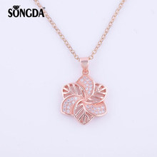 SONGDA Rose Gold CZ Flower Necklace Micro Pave AAA Zircon Women Jewelry Crystal Choker Pendant&Nacklace For Best Friend PX0447(China)