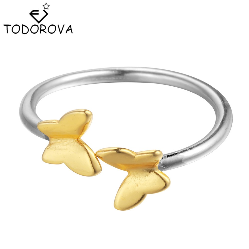 Todorova 925 Sterling Silver Ring Gold Butterfly Open Ring Midi Pinkie Finger Toe Rings Anillo for Lady Women Christmas Jewelry