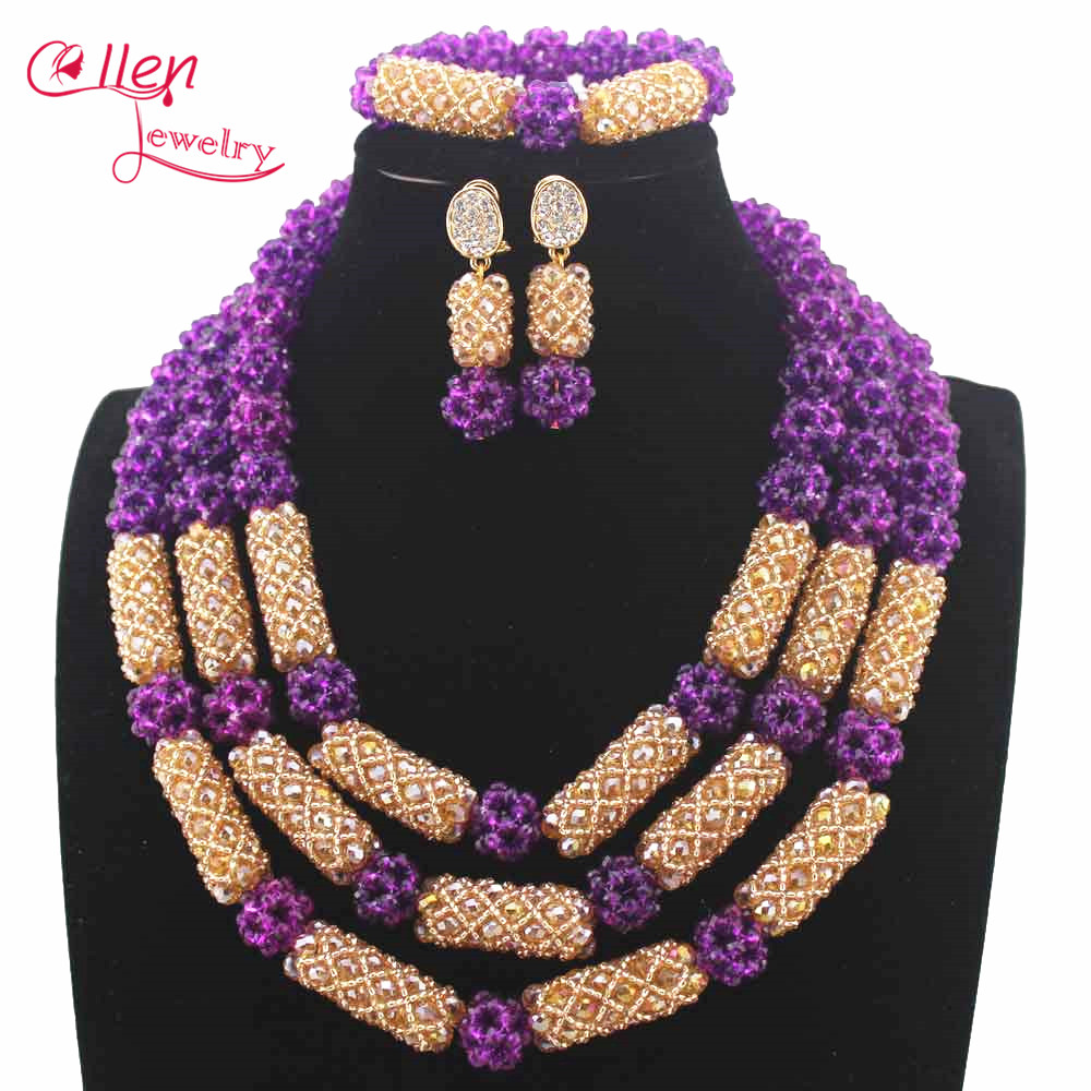 New Amazing Purple Women Costume African beads Jewelry Set Indian ...