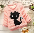new fashion kids baby girls children winter top clothing velvet plus bow cartoon cat character thick fur outerwears sweaters