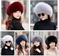 IANLAN Womens Full pelt Fox Fur Bomber Hats Winter Outdoor Warm Windproof Top Hat Russian Style Real Sheep Leather Hats IL00249