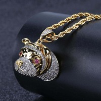 Hip Hop Dog Head Necklace Pendant Charm For Men Women Gold Silver Color Cubic Zircon Jewelry Gifts