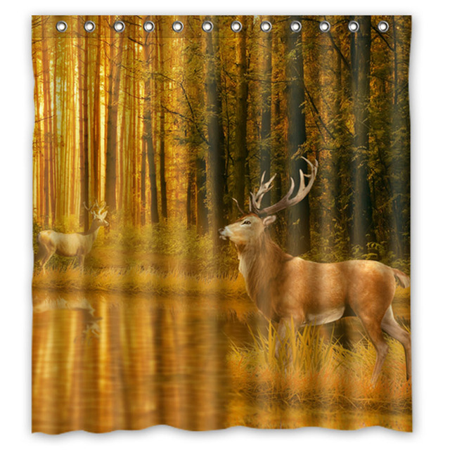 Deer Forest Tree Autumn Elf Custom Shower Curtains Design Creative Curtain Bathroom Waterproof Polyester