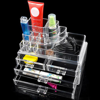 2016 Top Sale Clear Acrylic Lipstick Holder Display Stand Cosmetic Organizer Makeup Case Lip Holder Free