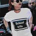 Плюс Размер Женщин Черный Белый Школы Убивает майка Женщина хип-Хоп Теэ Моды Tumblr Топы Улица Хиппи Панк рубашка T-F10992