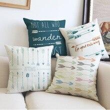 Creative European style home Decorative Pillows cojines linen Abstract geometry arrows throw Pillows Cushion