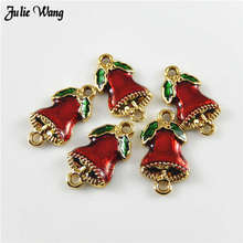 Julie Wang 5-10pcs Christmas Tree Enamel Charm Bell Pendant Green Red Necklace Making Alloy Xmas Home Decor Accessory Finding