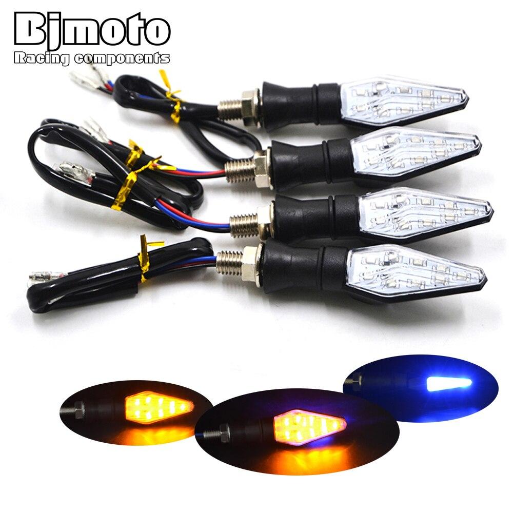 4 STÜCKE 12 V Universal Motorrad Blinker Licht Wasserdichte Bernstein und Blau Farbe 12 LED SMD Anzeige Blinker-Bike lampe