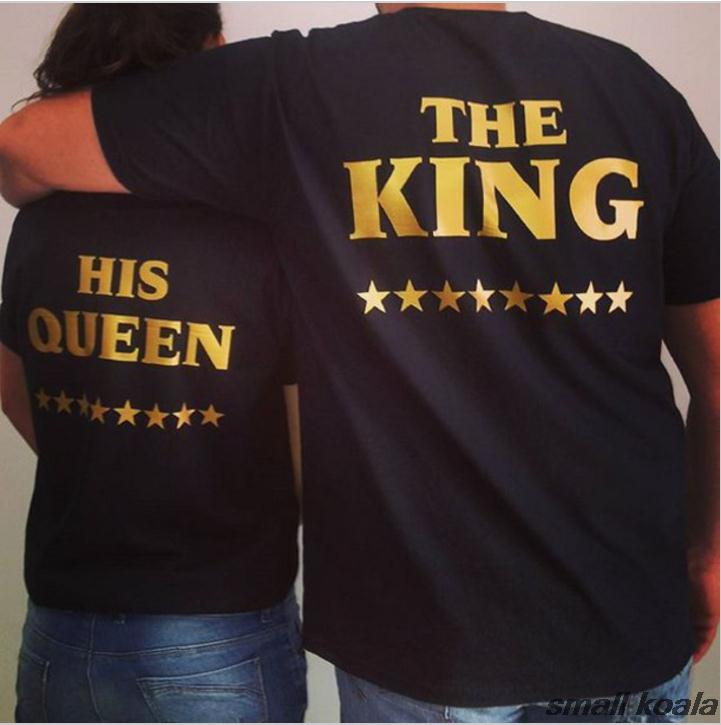 The King His Queen Star T Shirt Unisex Harajuku Couples