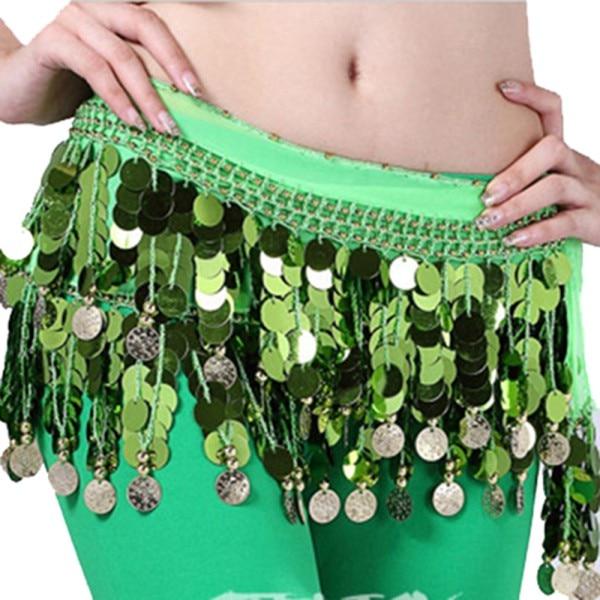 Chiffon Belly Dance Hip Wrap Scarf Waistband Skirt Professional Chiffon Belly Dance Scarf Coins Belt Hip Wrap Waist Chain