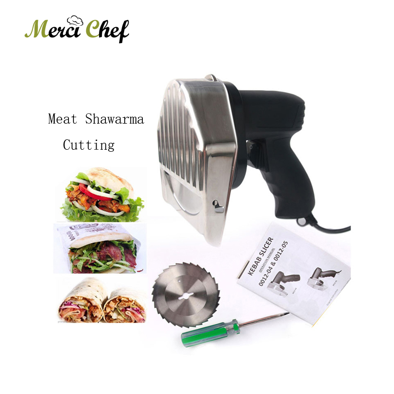 Automatic Electric Kebab Slicer Kitchen Knife Doner Cutter Gyros Meat Cutting Machine Two Blades 110V-240V For Shawarma