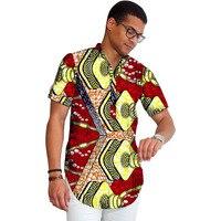 African print men shirt dashiki short sleeve men Africa style shirt stand collar tops summer outfit traditional design
