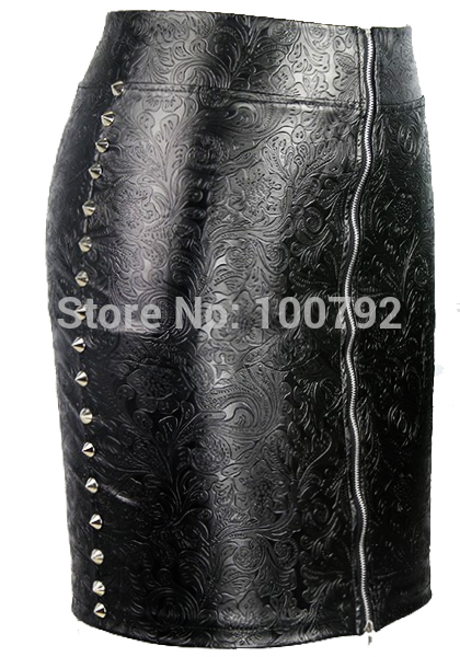 25cc8028e Sexy summer Women fashion Skirt Two Side Metal Studded Rivet High Waist  Faux Leather Pencil Skirts Front Back Zipper Punk Skirt-in Skirts from  Women's ...