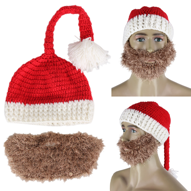 novelty winter crocheted mens santa claus father xmas hats cap handmade beard christmas hat home xmas