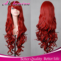 Hot Selling Cheap Long Wavy Silver/Grey/Red 11colors Harajuku Cosplay Wig Anime Kanekalon Fibre Synthetic Women Party Wig Peruca
