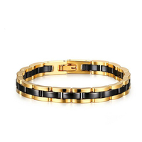 New Arrive Men's Jewelry Gold Black Tone Stainless Steel with Ceramic Link Chain Bracelet 7.5cm/