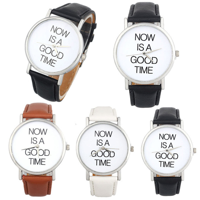 Hot Sale New Womens Mens Casual Watch NOW IS A GOOD TIME Leather Band Analog Qua