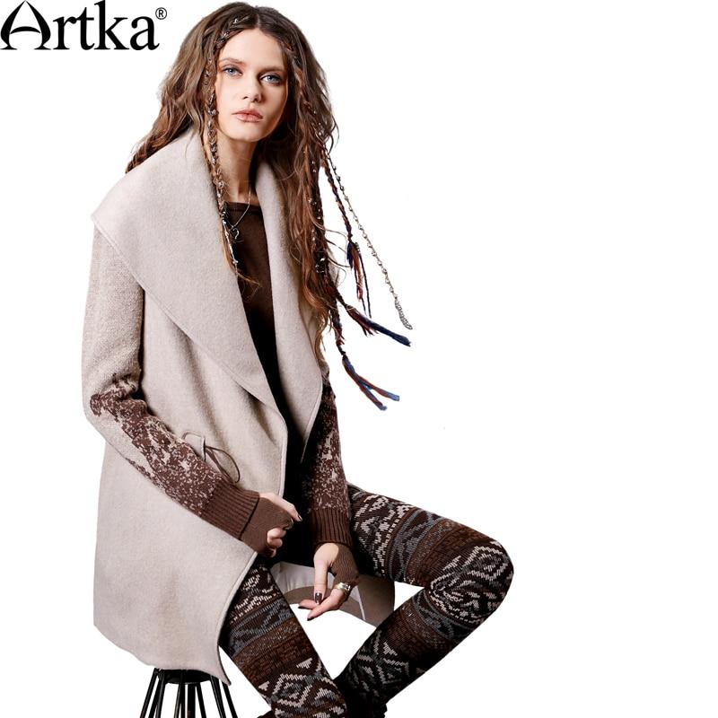 ARTKA ผู้หญิงฤดูใบไม้ร่วงฤดูหนาวใหม่ Patchwork เสื้อขนสัตว์ Vintage เปิด   ลงปกเสื้อปุ่มเสื้อ FA11363Q-ใน ขนสัตว์และขนสัตว์ผสม จาก เสื้อผ้าสตรี บน   2