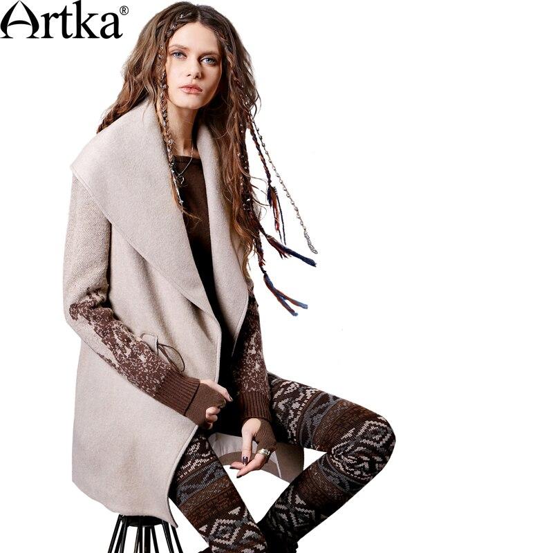 ARTKA المرأة الخريف و الشتاء جديد خليط الصوف معطف خمر بدوره إلى أسفل طوق محبوك كم واحد زر معطف FA11363Q-في صوف مختلط من ملابس نسائية على  مجموعة 2