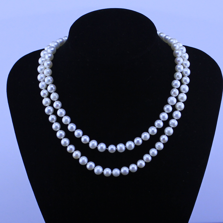 Eternal wedding Women Gift word 925 Sterling silver long 85-90cm 8-9mm real natural big pearl necklace nearly round eternal wedding women gift word 925 sterling silver real pink 7 8mm round round natural pearl necklace authentic mail
