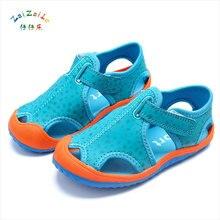 Фотография Hot Sale Kids Leather Sandals Fashion Kids Summer Car suture Patchwork Color Flats Single Shoes Children Breathable Sole Sandal
