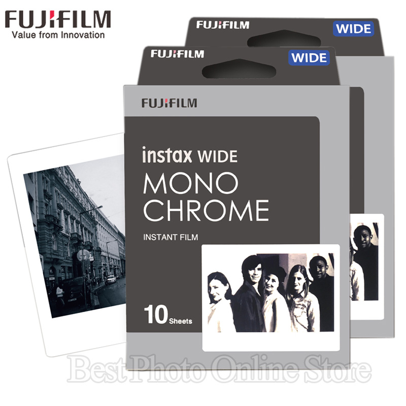 20 Feuilles Fujifilm Fuji Instax Large Film Noir et blanc Monochrome Pour Fuji Appareil Photo Instantané 300/200/210/100/500AF papier Photo