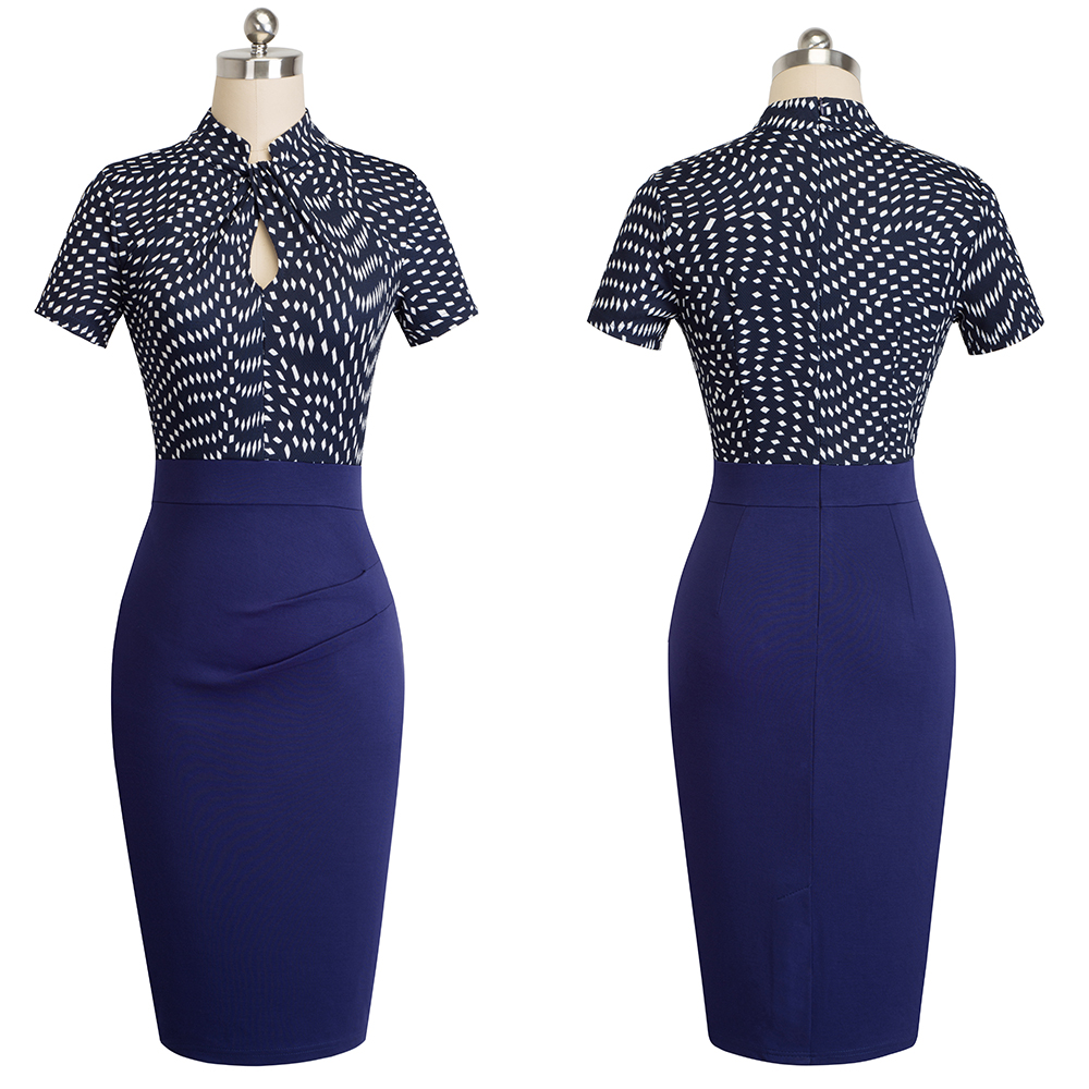 Elegant Work Office Business Drapped Contrasting Bodycon Slim Pencil Lady Dress Women Sexy Front Key Hole Summer Dress EB430 39