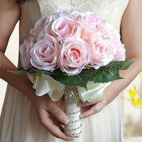 High Quality Crystal Artificial Bride Hands Holding Rose Flower Bridesmaid Wedding Flowers White Bridal Bouquet Buque