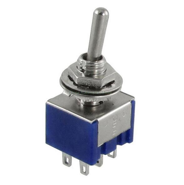 1Pcs DPDT ON-OFF-ON 3 Positions 6 pin Latching Miniature Toggle Switch AC 125V 6A 10pcs high quality blue on on on off on latching mini toggle switch ac 125v 6a 250v 3a