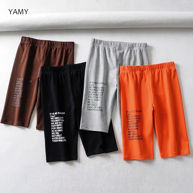 New Womens Orange Biker Shorts Elastic High Waist Skinny Sexy Shorts For Women Black Gray Slim Bodycon Letters Shorts Streetwear