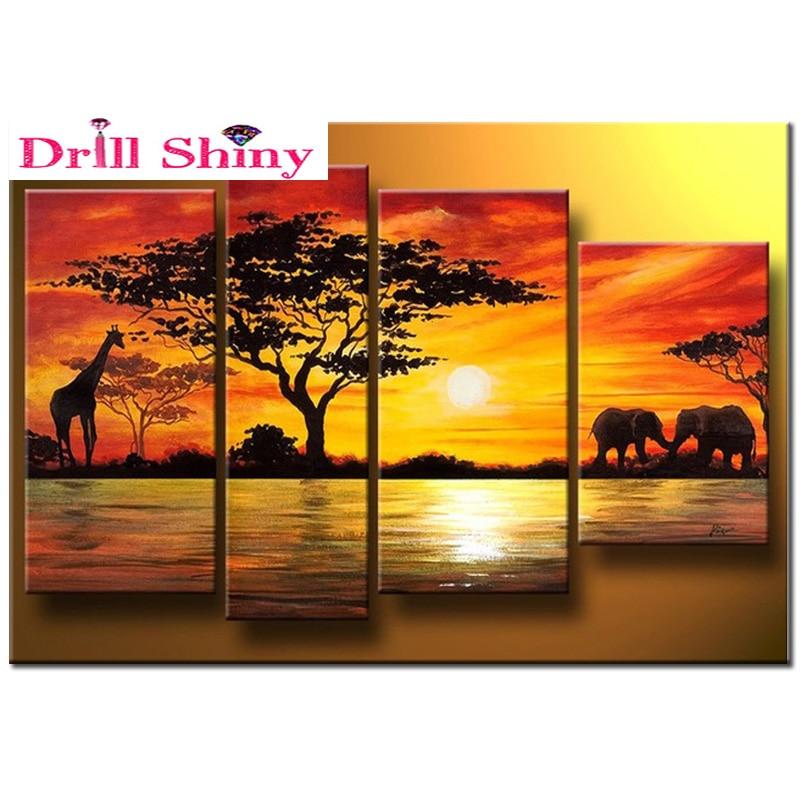 Bricolage 5d diamant peinture 5 pièces décoration de la maison africain éléphant peinture mur décor diamant broderie girafe coucher de soleil paysage