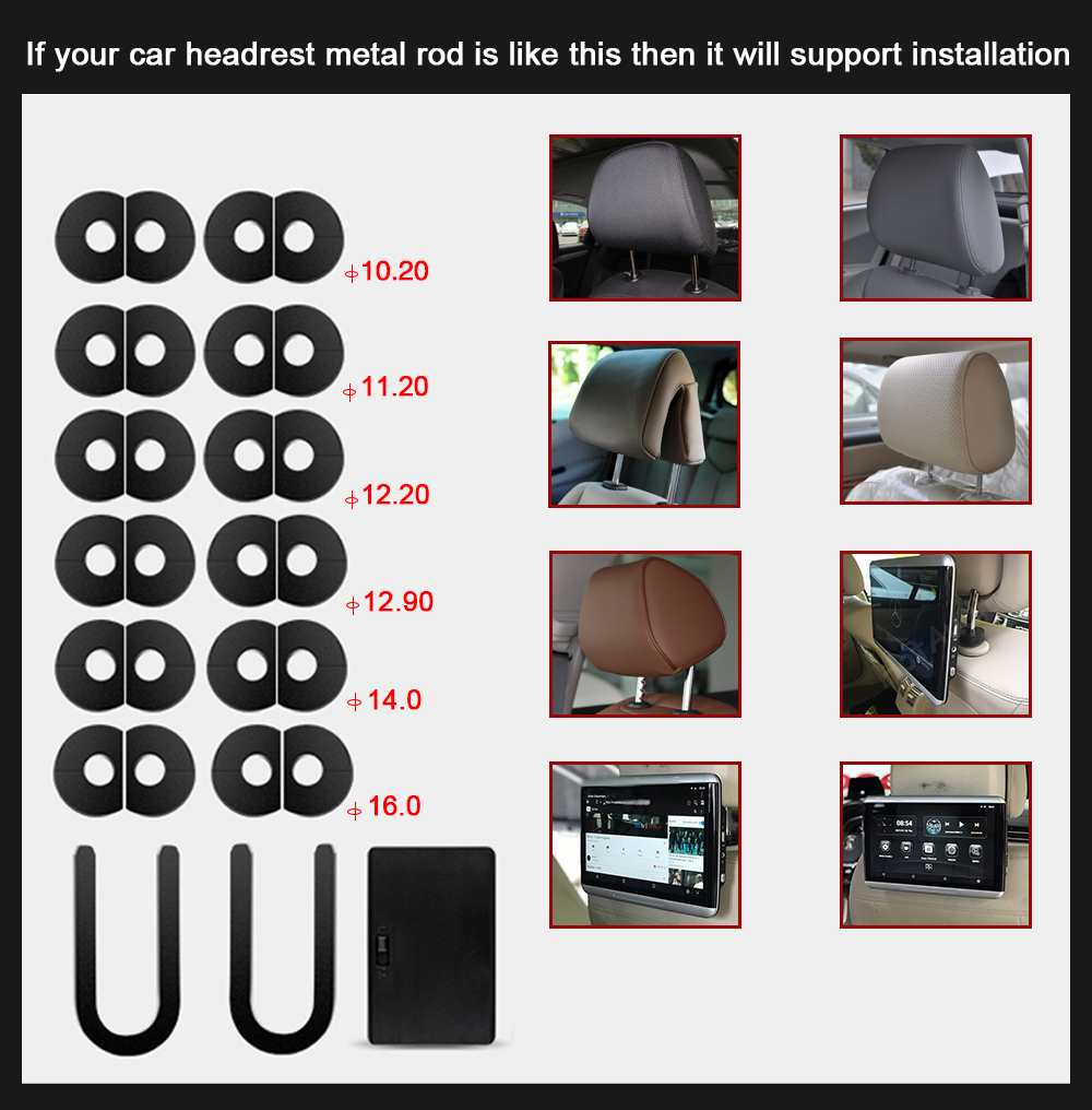 YAZH 12.5 inch 1920*1080 touch screen 2GB 16GB Car android 6.0 headrest monitor 1 pcs with bluetooth RCA out/in HDMI output