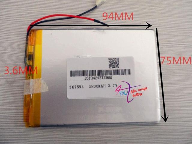 Лучший аккумулятор бренд Размер 367594 3.7 В 3800 мАч Литий Tablet полимерный аккумулятор С Защитой Борту Для GPS Tablet PC цифровых Произво