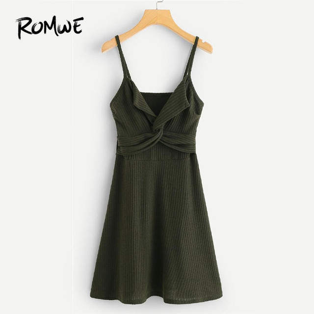 57ccc594009f ROMWE Twist Front Knit Cami Dress Women Green Casual Dress 2018 Summer  Spaghetti Strap Sleeveless A Line Dress