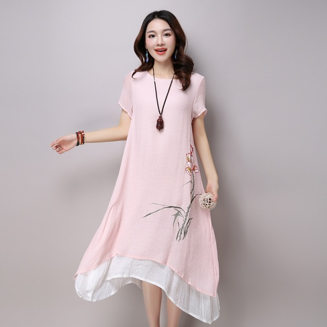 Cotton linen vintage floral print plus size women casual loose long summer dress elegant vestidos clothes 2019 dresses