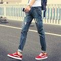 Calças de brim dos homens dos homens 2017 primavera e no outono versão Coreana de uma pequena cintura Fina jeans stretch reta sete cores